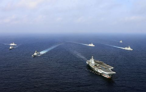 A carrier task force built around China's carrier Liaoning, April 2018. GETTY IMAGES