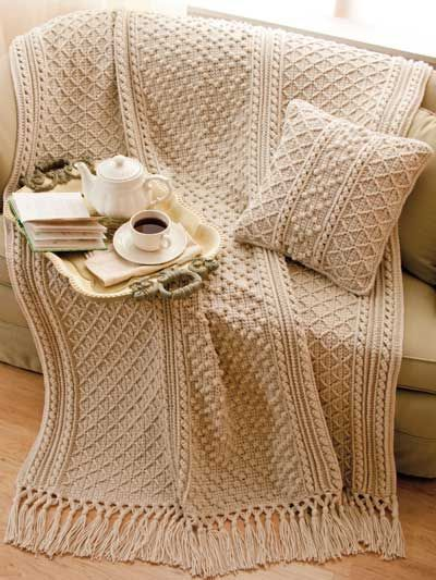 Aran Throw Knitting Pattern : Irish Knit-Style Afghan & Pillow Crochet Pattern Download from e-Patterns...