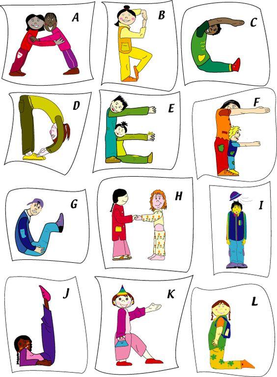 cartes faire l'alphabet avec son corps
