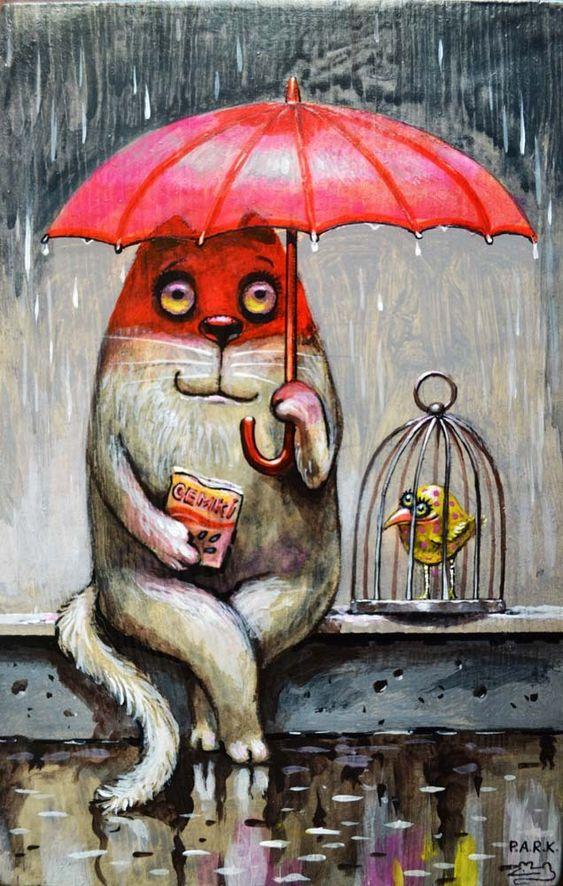 Просмотреть иллюстрацию Дождик из сообщества русскоязычных художников автора Павел Кульша в стилях: Персонажи, нарисованная техниками: Акрил.