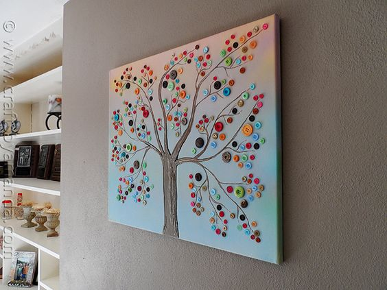 oooooh...this would be fun  Vibrant Button Tree on Canvas