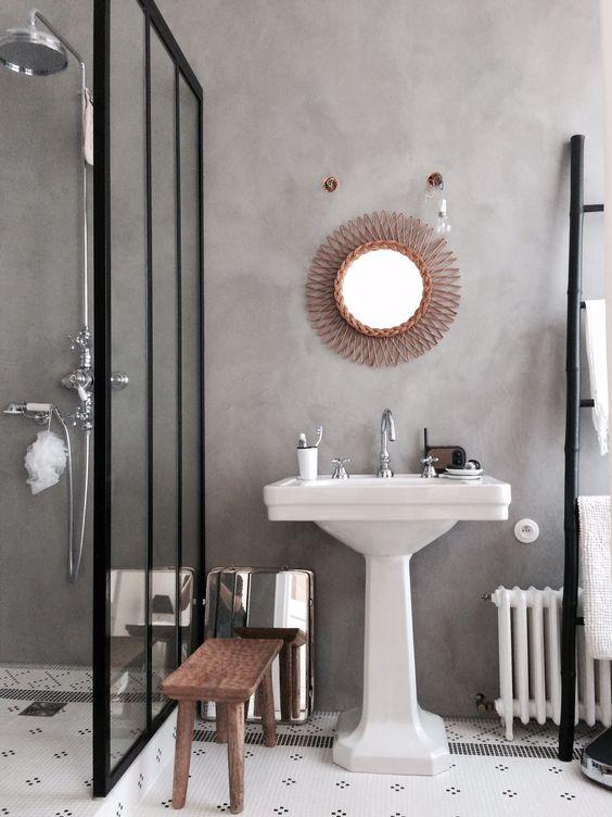 vieux radiateur dans salle de bain - Salle De Bain Vintage Design