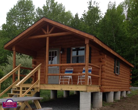 Modular cabins the o 39 jays and products on pinterest for Foundation options for cabins