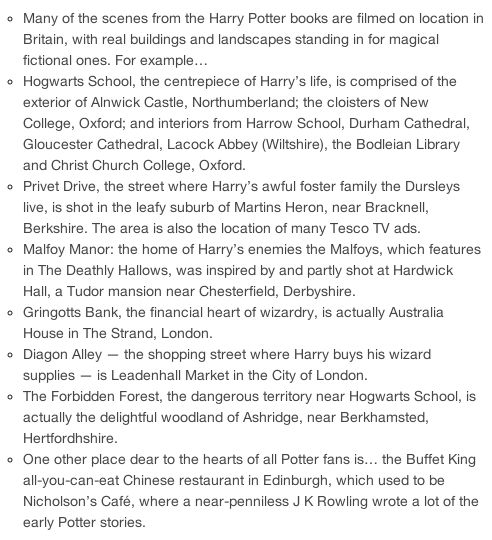 where to find your favorite Potter places- I want to go to all of them!