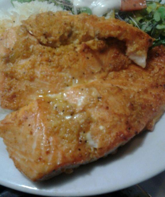 My Baked Santa Fe Salmon with Micro Greens and Jasmine Rice