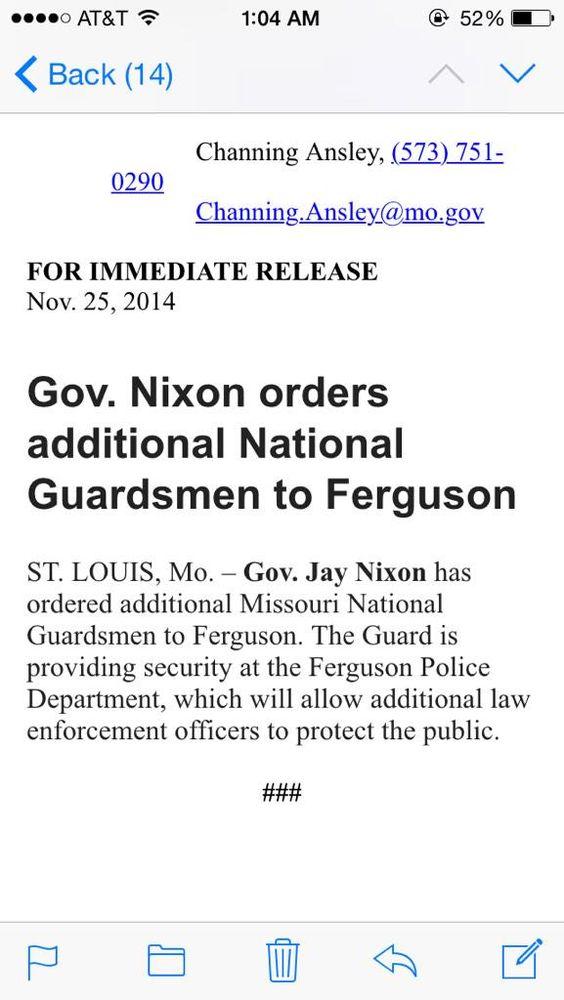 .@GovJayNixon calls in more national guardsmen.