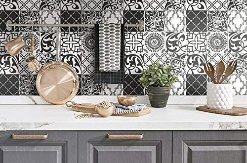 Nextwall Graphic Tile Peel And Stick Wallpaper Black White Amazon Com In 2020 Graphic Tiles Stick On Tiles Peel And Stick Wallpaper