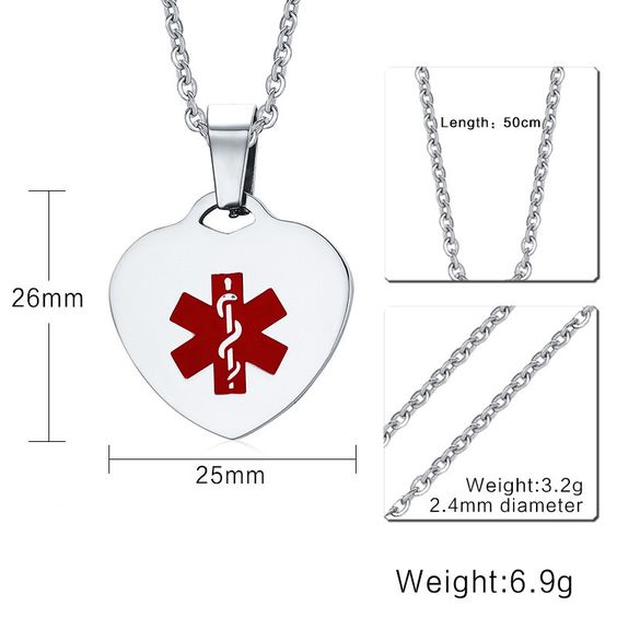 """VNOX Heart Medical Alert Necklace High Polished Stainless Steel Medical Dog Tag with Free 20"""" Chain"""