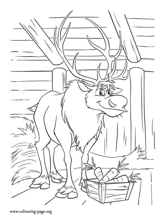 sven loves to eat carrots another amazing free disney frozen movie coloring page for kids - Sven Reindeer Coloring Pages