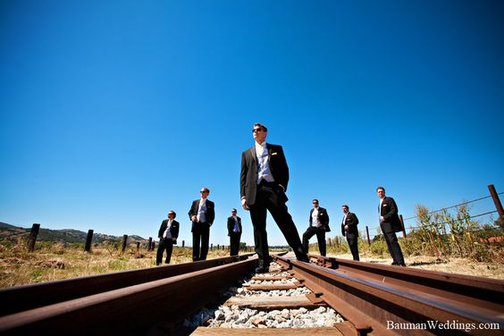 wedding party railroad tracks | ... Perspective Groomsmen on train tracks – Events by Design Blog