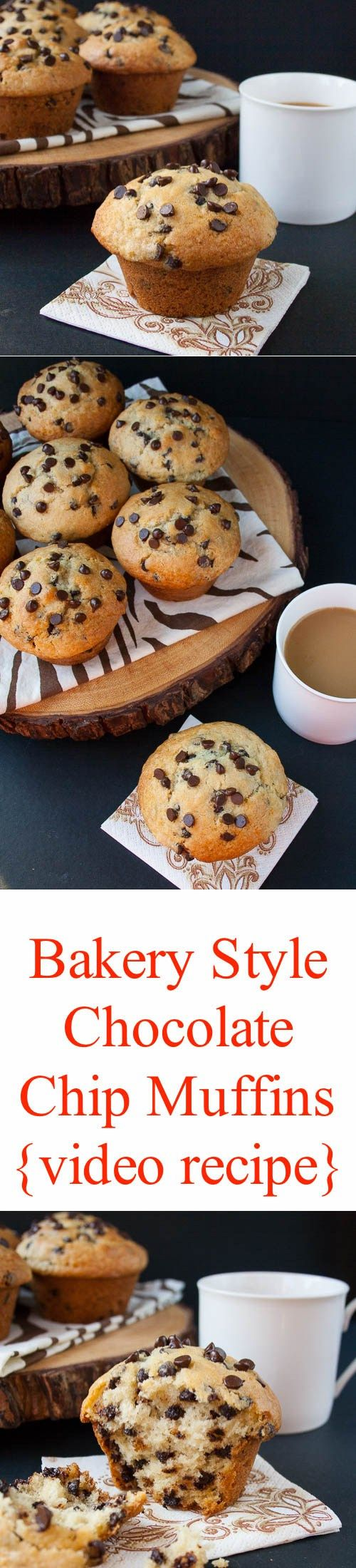 Soft and fluffy, loaded with chocolate chips with a crispy sky-high muffin top. See how easy it is to make these bakery style muffins at home.