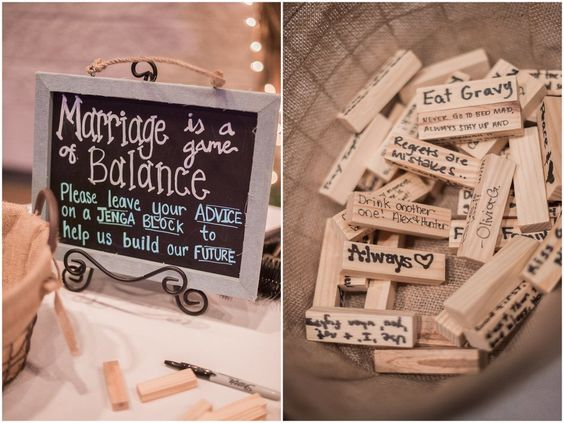 This is such a Great Idea For A Wedding Reception Decor From a Virginia DIY Wedding. They Used Jenga Blocks For the Guest to Sign and Leave Marriage Advice, #DIYWedding #Wedding #Jenga #WeddingDecor
