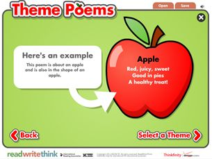 ReadWriteThink, International Reading Association Create Theme poems using pictures and key words created by the student.  Can be used to teach theme poetry, rhyming, and patterns to create fluency in reading and poetry.