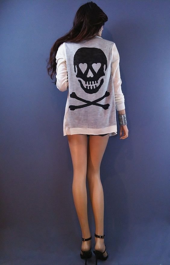 Rocker Chic FORBIDDEN LOVE Skull Heart Punk Rock Boho Cardigan Cream Wht Black L - Sweaters