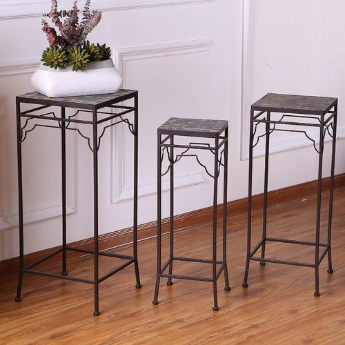 Winsomehouse 3 Piece Pedestal Plant Stand Reviews Wayfair Outdoor Accent Table Plant Table Plant Stand