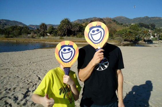 New Year's Day. Surfrider Beach, Malibu, CA. Having fun with our new game!