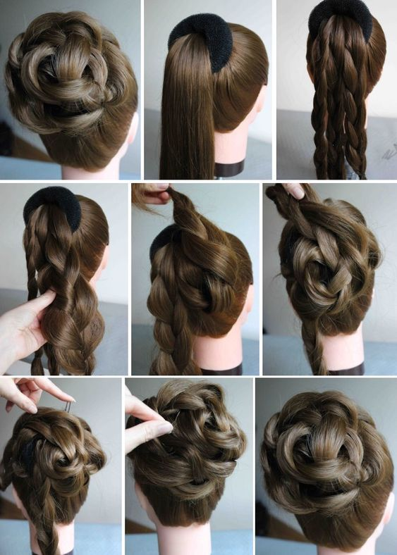 Graceful And Simple Evening Hairstyle Hairstyle Long Hair Styles Hair Donut Hair Style Recogido
