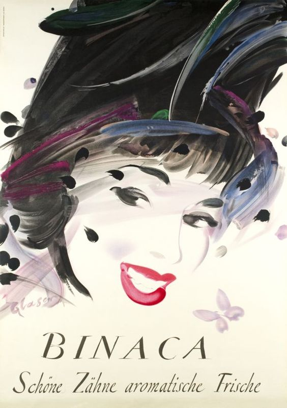 1949 White teeth with the aromatic Binaca, Swiss toothpaste company vintage advert poster