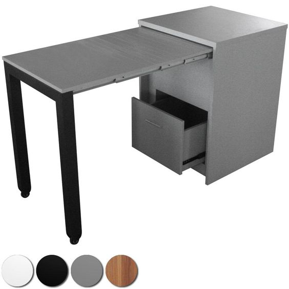 commode bureau tower argent 505 389 pratique pour le. Black Bedroom Furniture Sets. Home Design Ideas