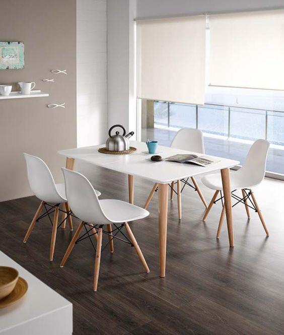 Conjunto estilo n rdico formado por mesa de comedor 120 x for Mesa comedor estilo nordico