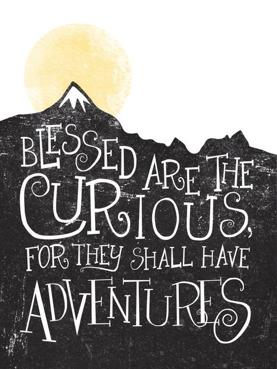 Talk about wanderlust. WHAT IS IT    - A digital print with a stamp effect of a mountain range and a gold foil sun that reads Blessed are the curious,: