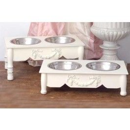 White shabby chic dog bowls feeder for small dogs ideas for Shabby chic dog
