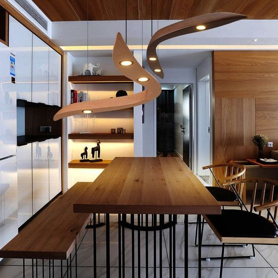 Lampe Designer Modern In Holz Schwebend Led Mobel Wohnen Beleuchtung Deckenlampen Kronl Wohnzimmer Kronleuchter Esszimmer Beleuchtung Holzpendelleuchte