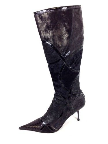 Aldo Boots Black Zip Side Leather Knee Hight Pony hair Heels Womens 10 5 11 41   eBay