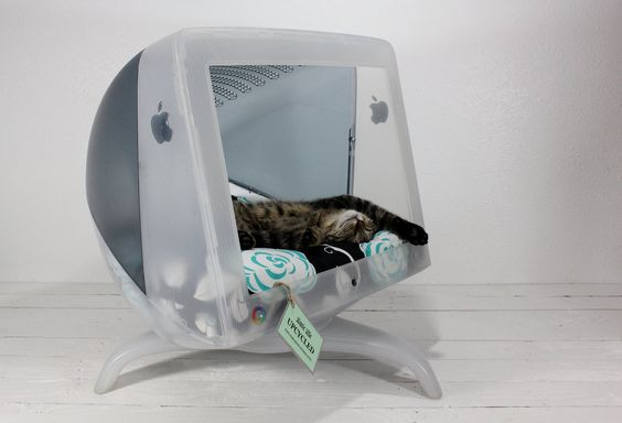 """Upcycled Apple Computer Pet Bed.  A 21"""" Apple Macintosh Studio Display Monitor turned into a pet bed able to accommodate large cats and small dogs."""