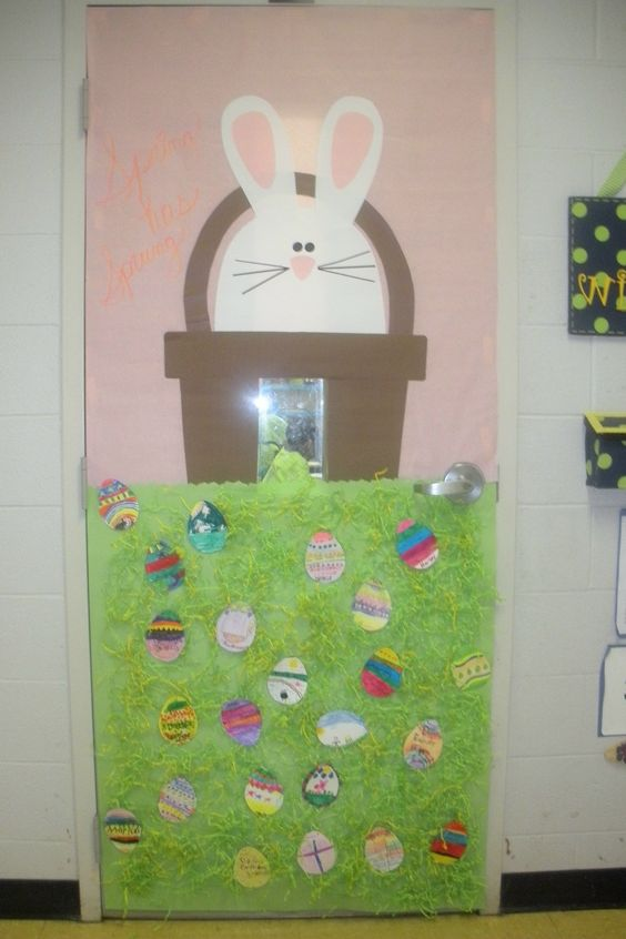 Porte de classe p ques activit manuelle pinterest for Decoration porte lapin