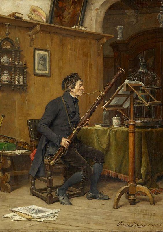 Gerard Jozef Portielje (1856-1929) - Musician with bassoon