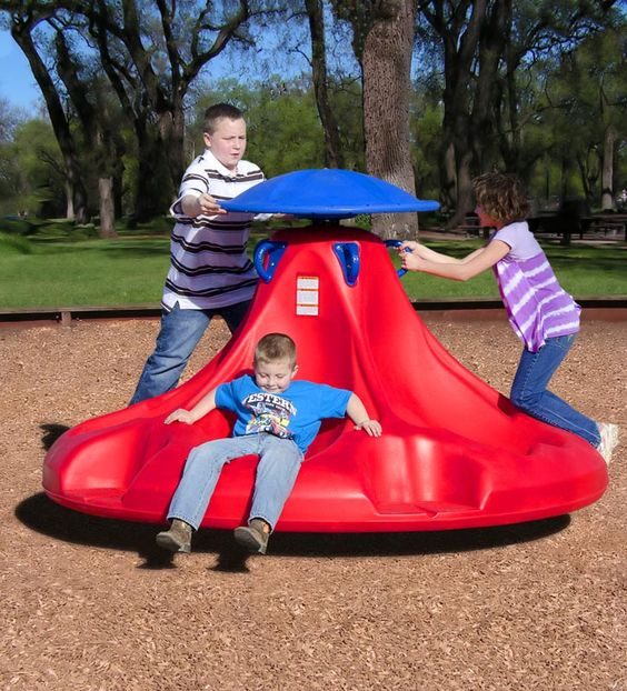 Miracle Recreation's Ten Spin -- This piece has a user capacity of 10 children, and the breaking system allows for total control of the rotation speed.  Possibilities for children with special needs and autism spectrum.