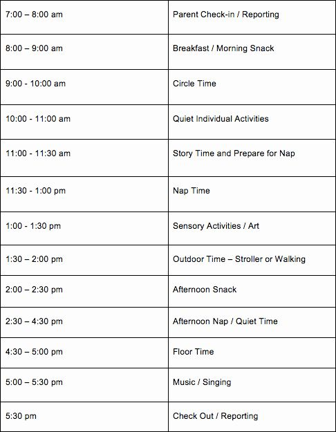 Daycare Staff Schedule Template Lovely Daily Daycare Schedules For Infants Toddlers Daycare Schedule Daily Schedule Preschool Schedule Template