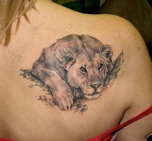 Cute Lion Tattoo Design For Women on Back