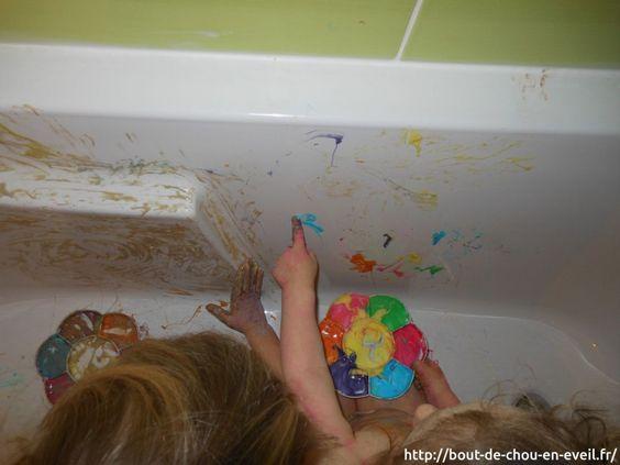 Atelier peinture dans la baignoire ! Bout de chou en éveil