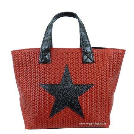 Wearit Bags - DAMEN HandTASCHE AUS RINDLEDER IN GEFLOCHTENPRÄGUNG mit Eco-Leder GF1301