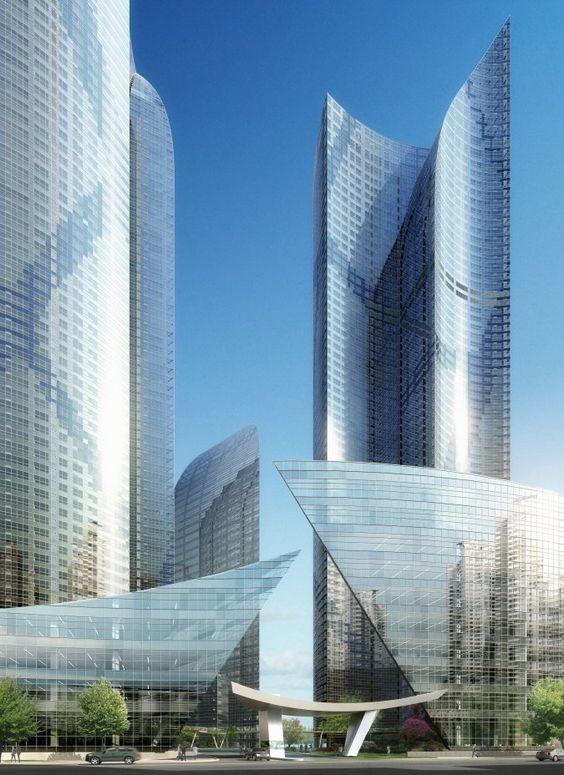 Haeundae Udong Hyundai I'Park in Busan, South Korea by Studio Daniel Libeskind, Future Architecture, Future Building, Modern Building, Modern Architecture, towers