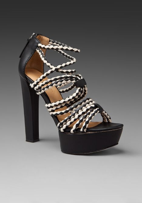 LAMB | Leather High Heeled Platform Sandals with Braided Leather and Rope Straps