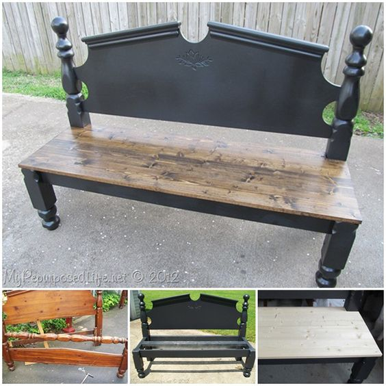 262 Best Old Stools Benches Images On Pinterest: Repurposed Headboard Bench