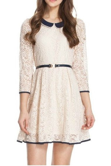 Love love Love this Peter Pan Collar Ivory Lace Dress #ivory #lace #fashion