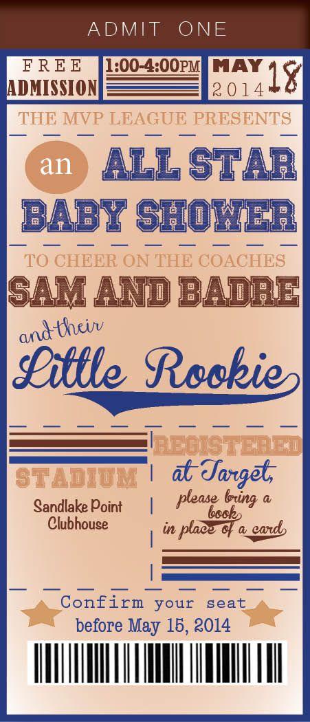 Sports themed baby shower. Boy shower All custom baby shower invites!  manderson@ncadirect.com