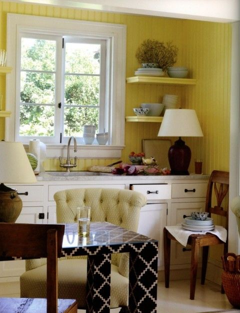 kitchenette by Jeffrey Bilhuber  love the floating shelves painted to  blend in with the beadboard!