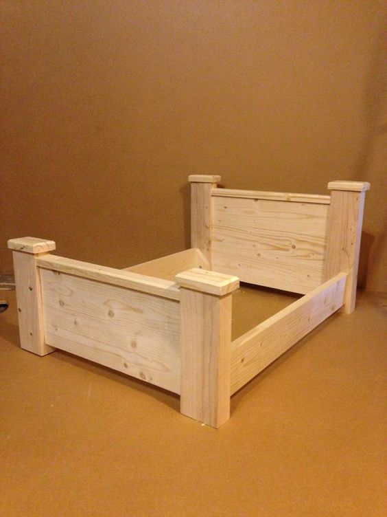 Wooden bed dog cat pet 100 solid wood unfinished for Raw wood bed frame
