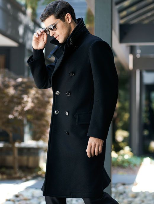 Tom Ford Black Double Ted Peacoat, Cotton Peacoat By Tom Ford