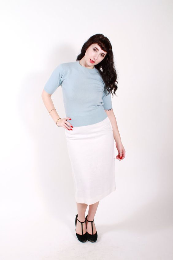 1950s Vintage Sweater Pastel Blue Cashmere by stutterinmama, $56.00