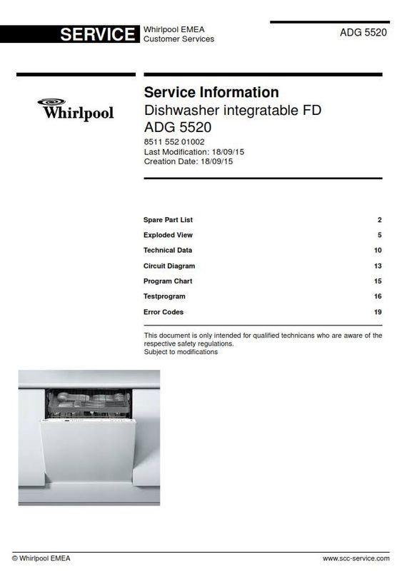 Whirlpool Adg 5520 Dishwasher Original Service Information Manual Dishwasher Service Whirlpool Whirlpool Dishwasher