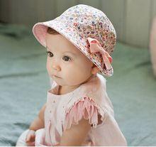 Floral sombrero del cubo cap doble uso bebé coreano fotografía suave bebé carters recién nacidos niñas sombrero protector solar sol(China (Mainland))