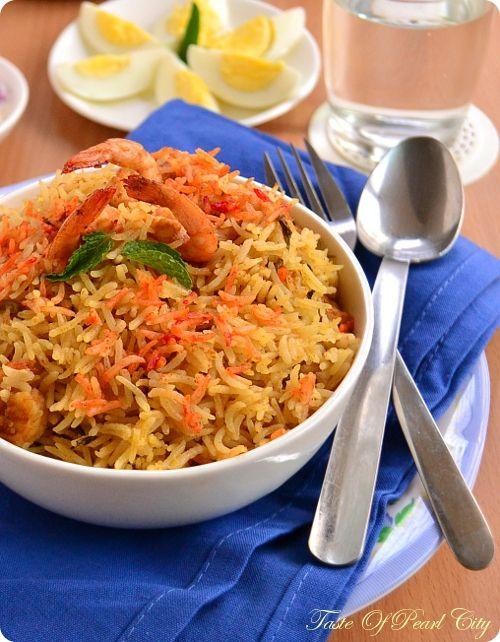 Prawn Biryani, simple and mild flavours