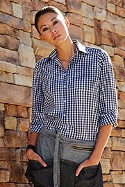 Womens Dark Navy Gingham Dress Shirt [W500BWK]