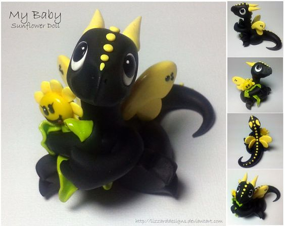 Handmade Polymer Clay Baby Sunflower Dragon - how cute and I love the colors & design